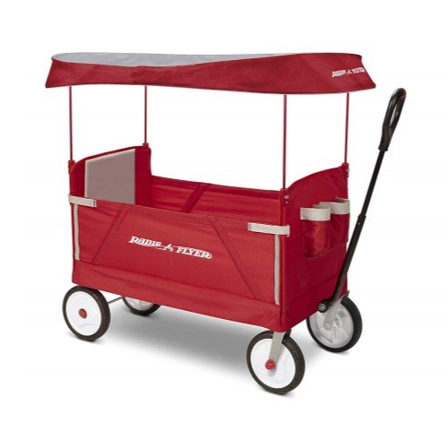 Radio Flyer 3-in-1 EZ-Folding Wagon with Canopy for Kids & Cargo
